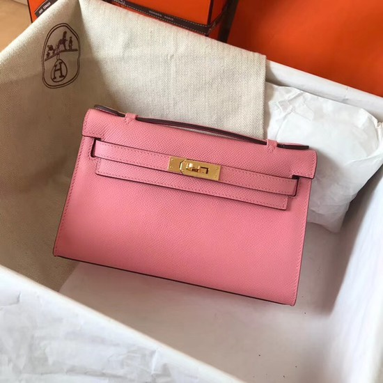 Hermes original epsom leather kelly Tote Bag KL2833 pink