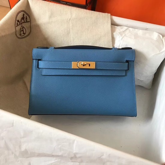 Hermes original epsom leather kelly Tote Bag KL2833 blue