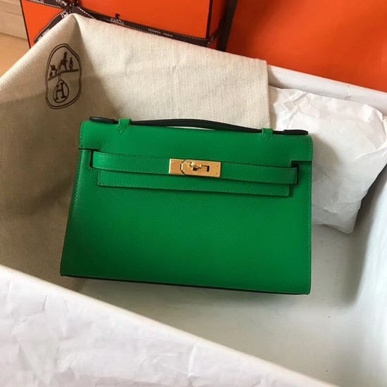 Hermes original epsom leather kelly Tote Bag KL2833 green