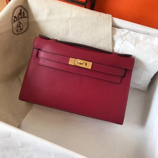 Hermes original epsom leather kelly Tote Bag KL2833 fuchsia