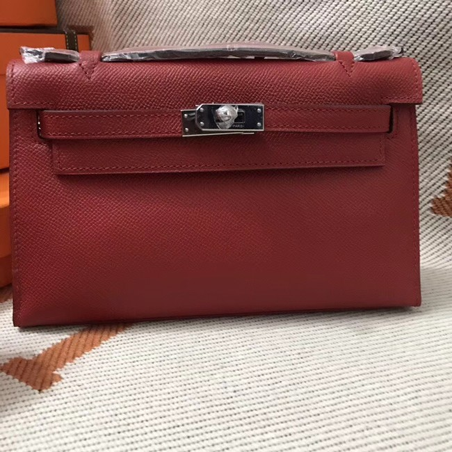 Hermes original epsom leather kelly Tote Bag KL2833 red