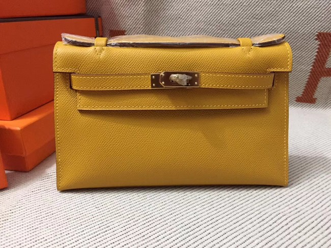 Hermes original epsom leather kelly Tote Bag KL2833 yellow