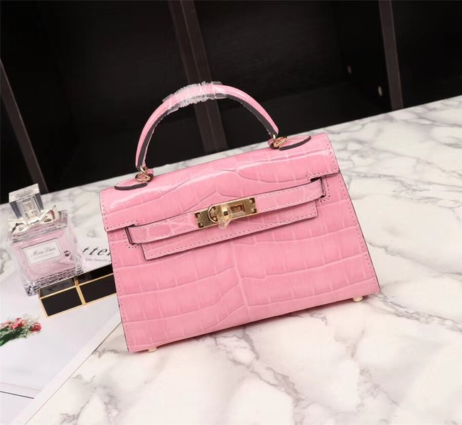 Hermes Kelly 19cm Tote Bag crocodile Leather KL19 pink