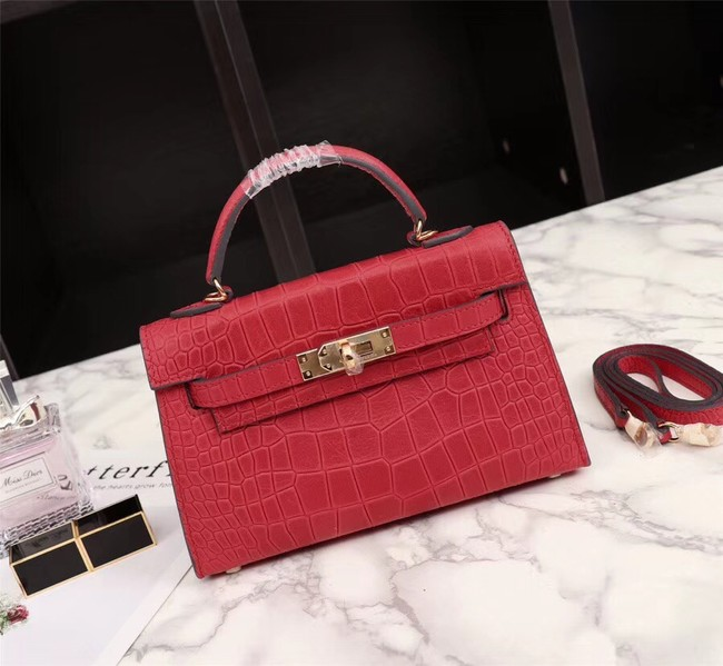 Hermes Kelly 19cm Tote Bag crocodile Leather KL19 red