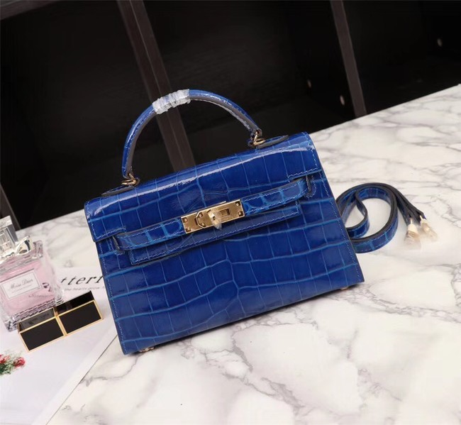 Hermes Kelly 19cm Tote Bag crocodile Leather KL19 blue