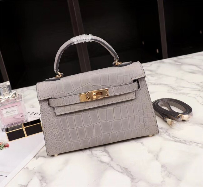 Hermes Kelly 19cm Tote Bag crocodile Leather KL19 light gray
