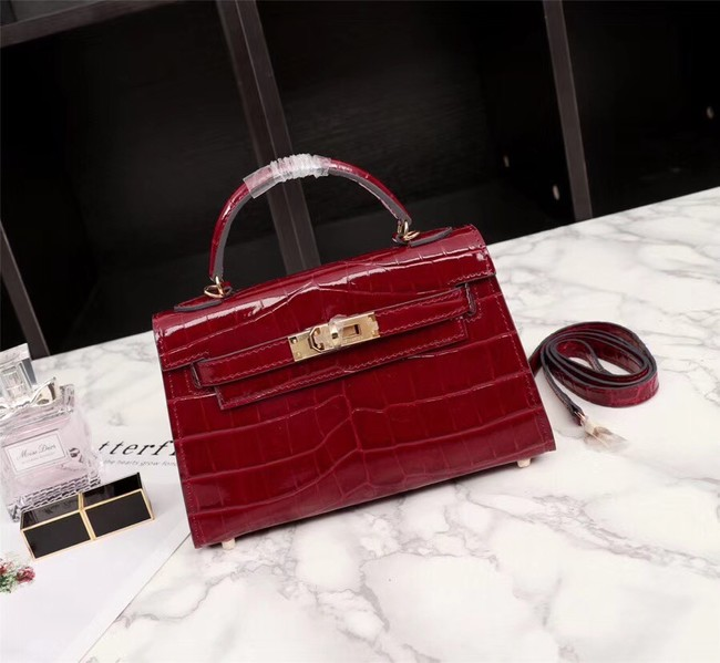 Hermes Kelly 19cm Tote Bag crocodile Leather KL19 fuchsia