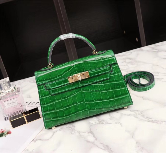 Hermes Kelly 19cm Tote Bag crocodile Leather KL19 green