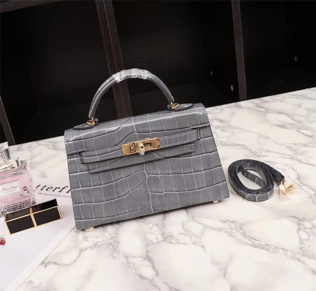 Hermes Kelly 19cm Tote Bag crocodile Leather KL19 grey