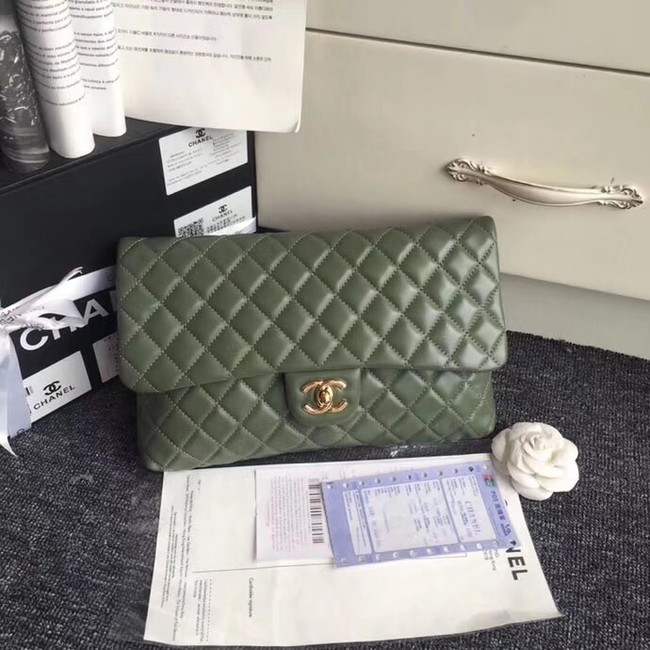 CHANEL Original Clutch Lambskin A57650 green