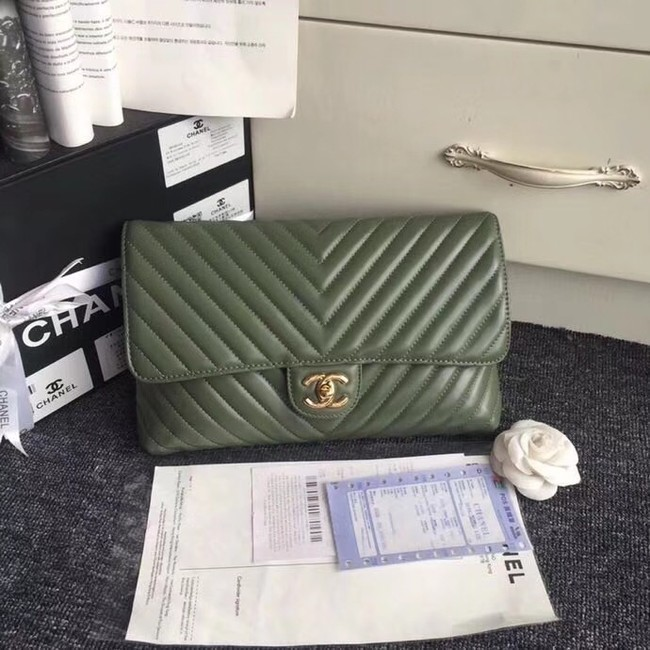 CHANEL Original Clutch Lambskin V57650 green