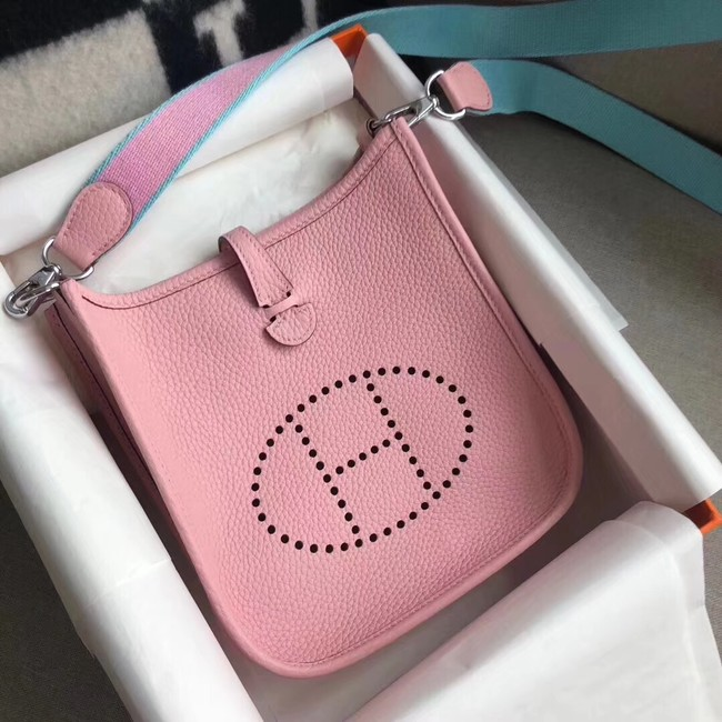 Hermes Evelyne original togo leather mini Shoulder Bag H15698 pink