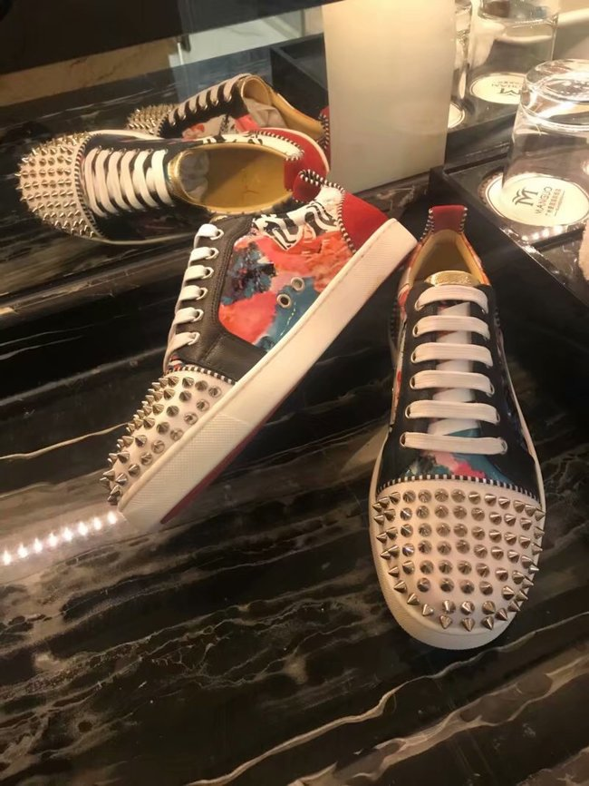 CHRISTIAN LOUBOUTIN Pik Boat glitter leather sneakers CL1047