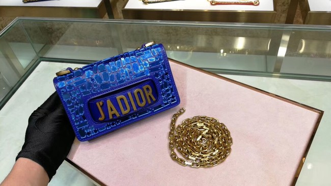 DIOR WITH CHAIN SMOOTH CALFSKIN EMBROIDERED WITH A MOSAIC OF MIRRORS M900 blue