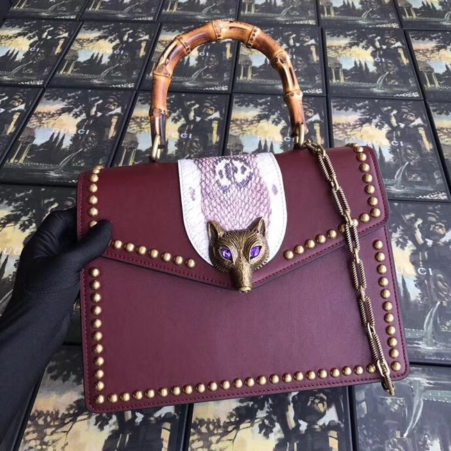 Gucci GG NOW medium top handle bag A466434 Burgundy
