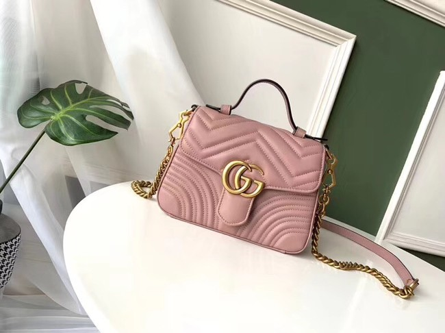 Gucci GG Marmont mini top handle bag 547260 pink
