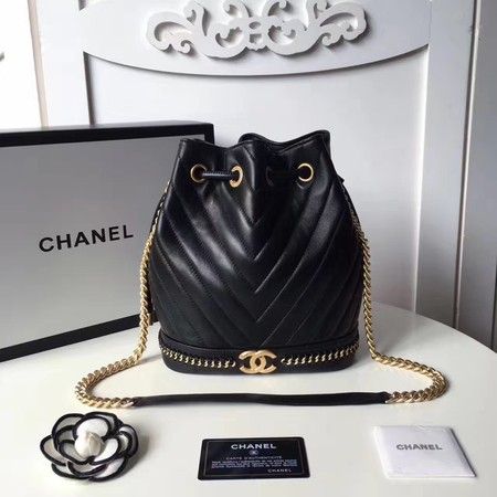 Chanel Hobo Bag Original Sheepskin Leather A94889 Black