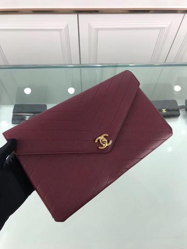Chanel pouch Grained Calfskin Smooth Calfskin & Gold-Tone Meta 57434 Burgundy