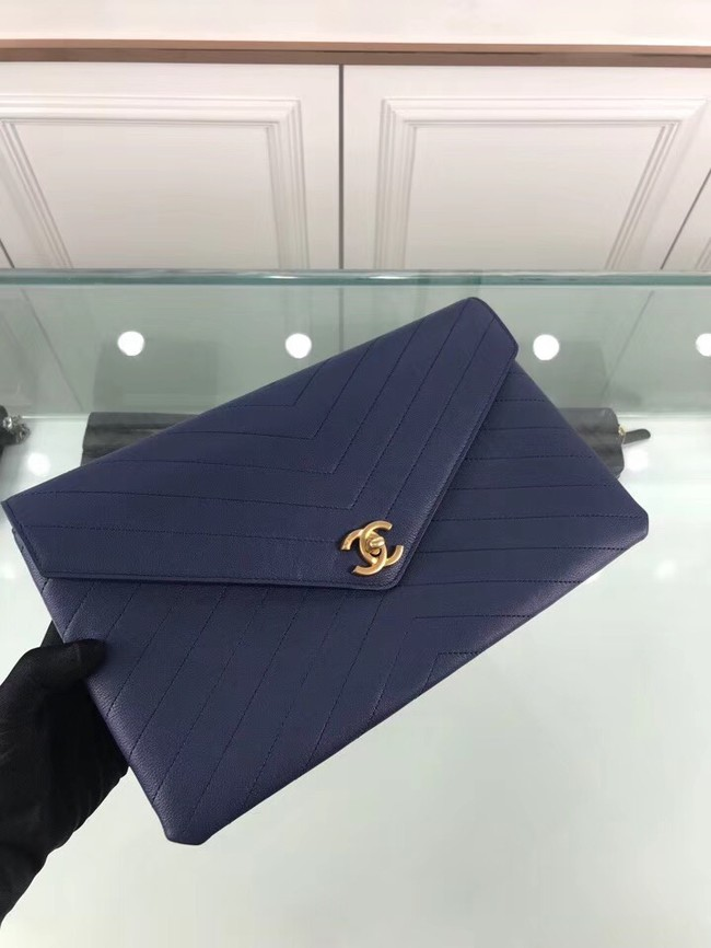 Chanel pouch Grained Calfskin Smooth Calfskin & Gold-Tone Meta 57434 blue