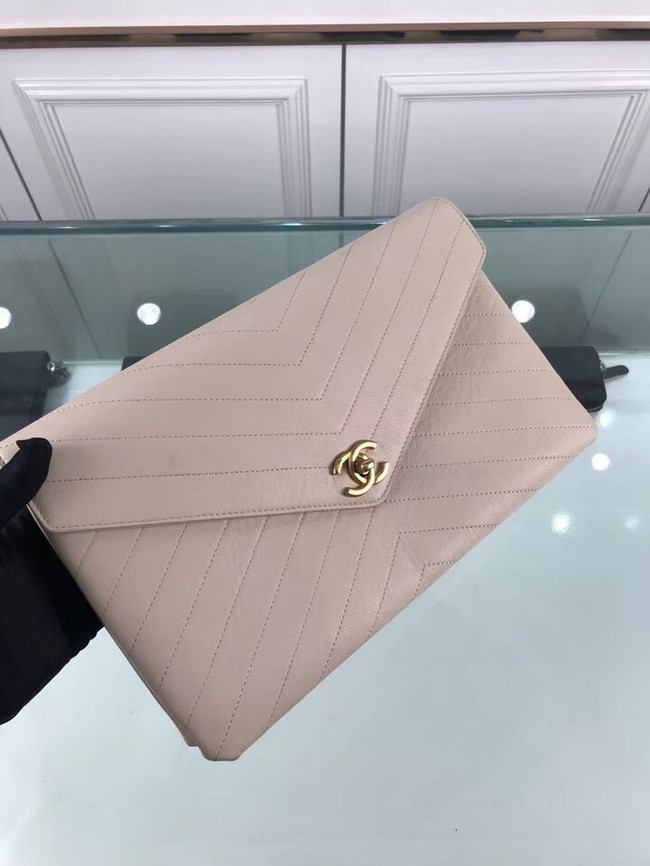 Chanel pouch Grained Calfskin Smooth Calfskin & Gold-Tone Meta 57434 grey