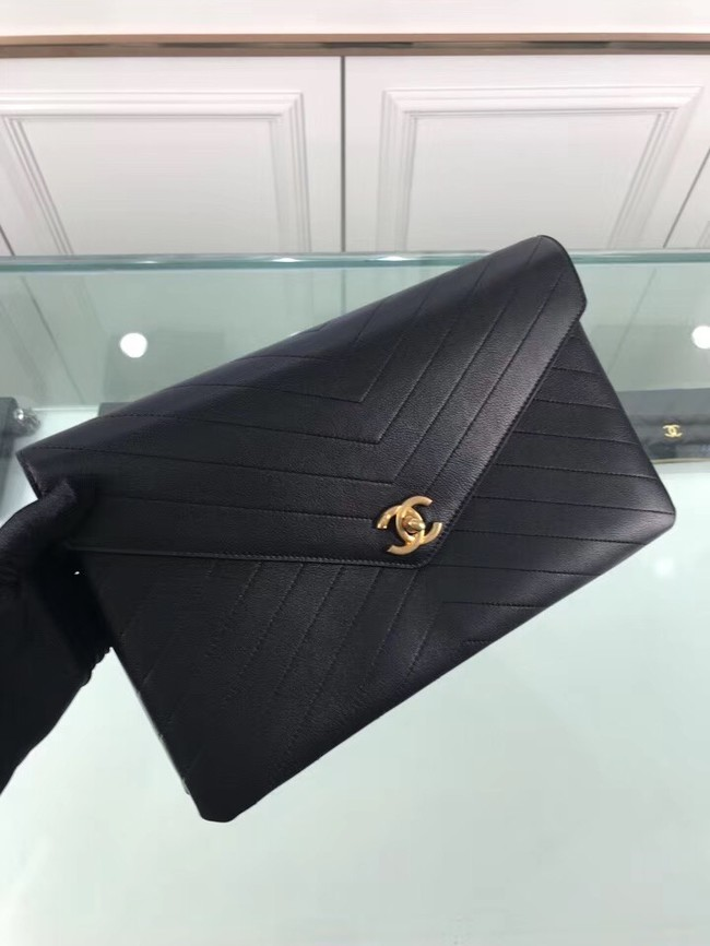 Chanel pouch Grained Calfskin Smooth Calfskin & Gold-Tone Meta 57434 black