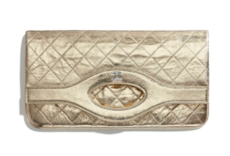 Chanel 31 pouch Metallic Crumpled Goatskin & Silver-Tone Metal A70520 gold