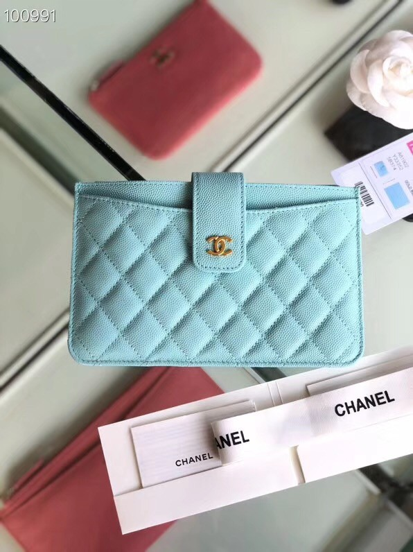 Chanel classic pouch Grained Calfskin & Gold-Tone Metal A81902 sky blue