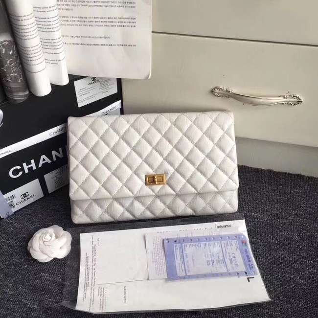 Chanel classic clutch Lambskin & Gold-Tone Metal 35629 white