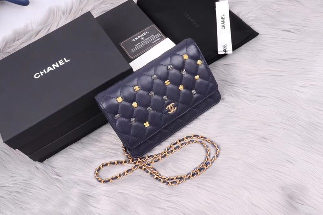 Chanel wallet on chain Lambskin & Gold-Tone Metal A81618 dark blue
