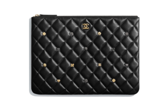 Chanel pouch Lambskin & Gold-Tone Metal A81619 black
