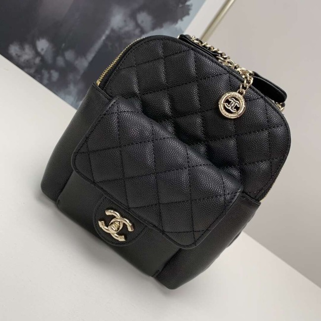 Chanel Grained Calfskin & Gold-Tone Metal backpack AS0003 black