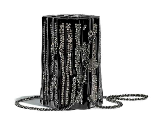 Chanel evening bag Resin, Strass & Ruthenium-Finish Metal A69844 black