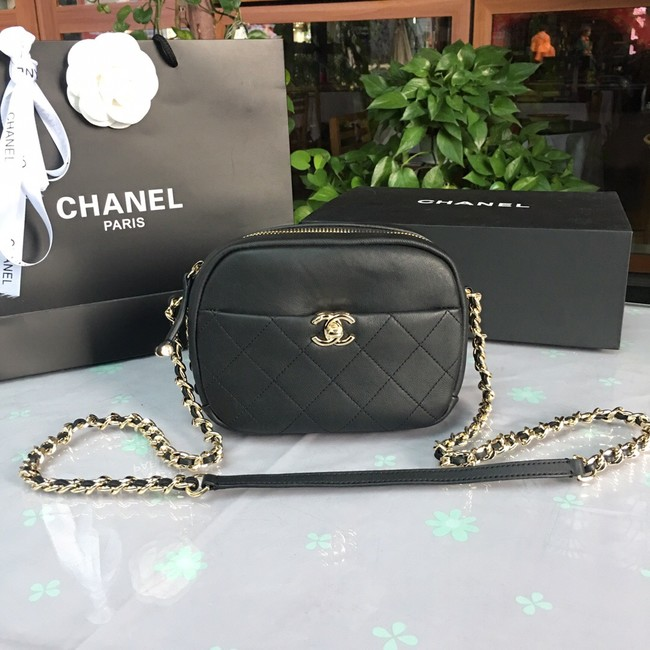 Chanel camera case Lambskin & Gold-Tone Metal AS0137 black