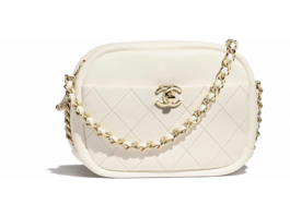 Chanel camera case Lambskin & Gold-Tone Metal AS0137 white