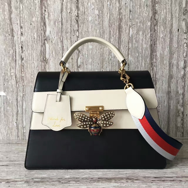 Gucci Queen Margaret Calf Leather Top Handil Bag 476540 Black&White