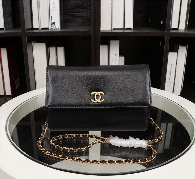 New Cheap Chanel A32258 Black Grain Leather Flap Bag gold