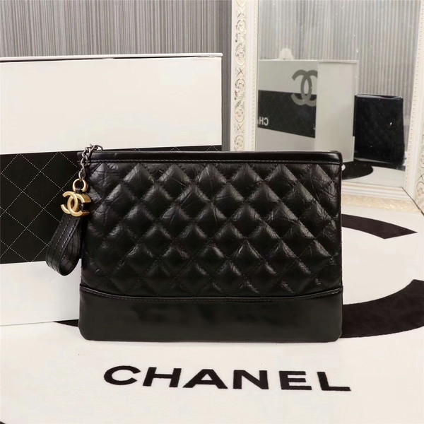 Chanel 2017 Calfskin Leather Clutch 8127 Black