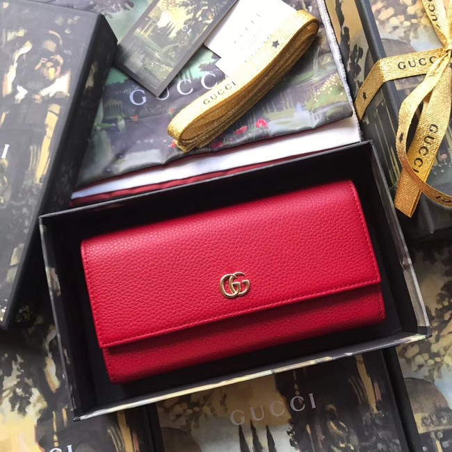 Gucci GG Marmont leather wallet 456116 red