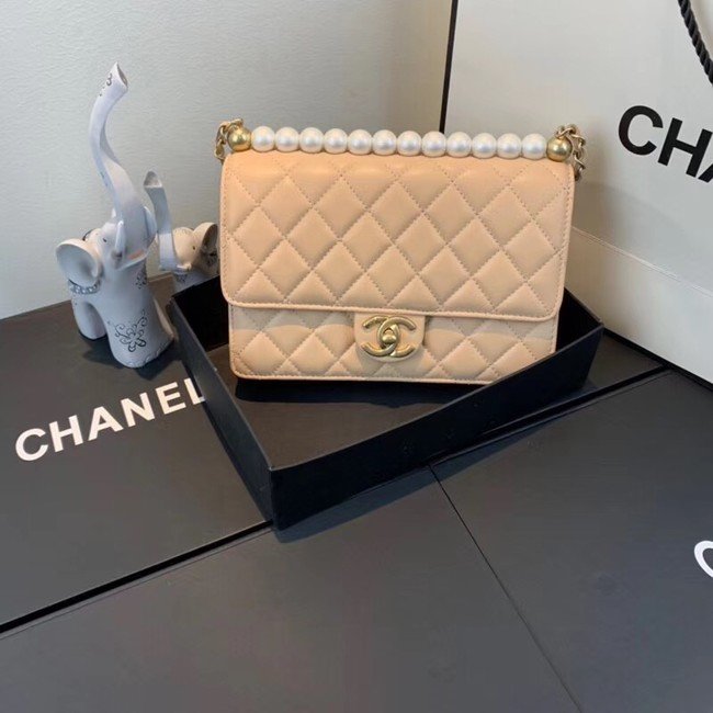Chanel Flap Shoulder Bag Sheepskin Leather 77399 apricot