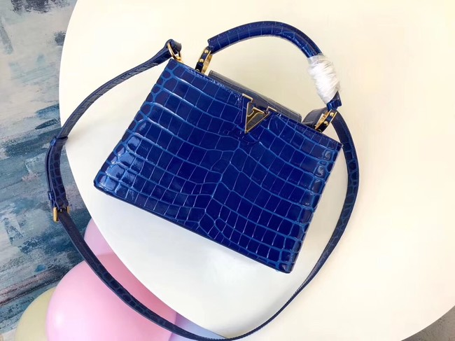 Louis vuitton original crocodile CAPUCINES PM M94587 blue