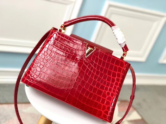 Louis vuitton original crocodile CAPUCINES PM N93163 red