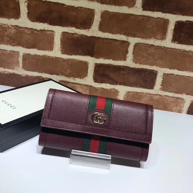 Gucci Ophidia leather wallet 523153 Wine