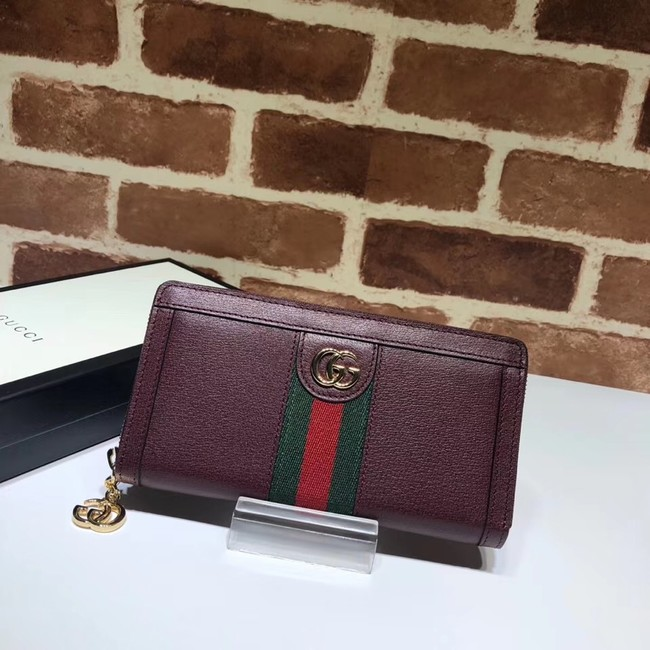 Gucci Ophidia leather zip wallet 523154 Wine