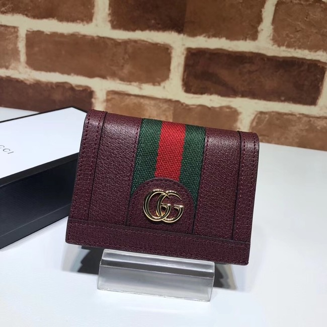 Gucci Ophidia leather wallet 523155 Wine