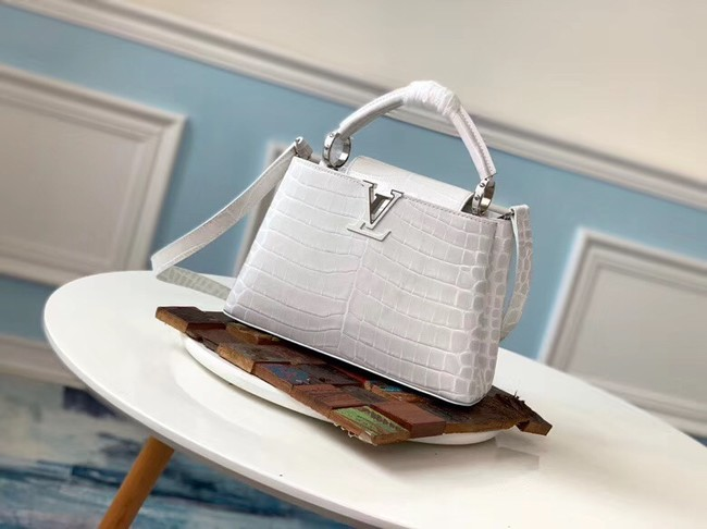 Louis vuitton original crocodile CAPUCINES PM M94587 cream