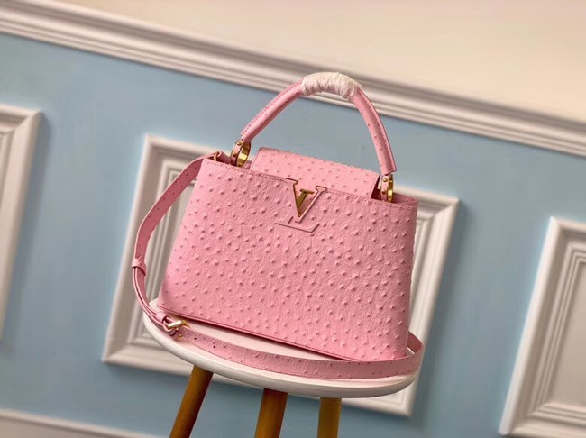 Louis vuitton original Ostrich pattern CAPUCINES PM M53665 Eau de Rose