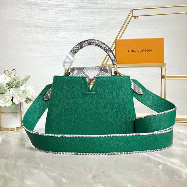 Louis vuitton original taurillon leather Capucines BB M48865 green