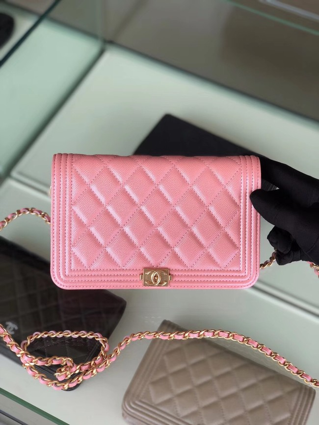 BOY CHANEL Original Wallet on Chain B80287 Pink