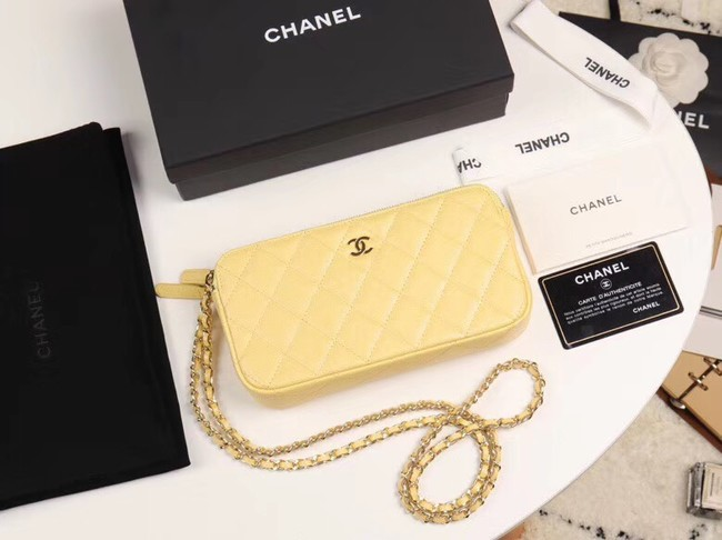 Chanel Calfskin & Gold-Tone Metal A82527 yellow
