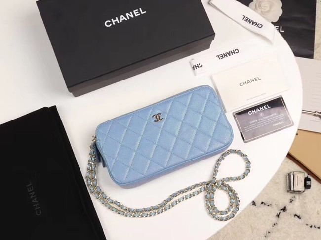 Chanel Calfskin & Gold-Tone Metal A82527 sky blue
